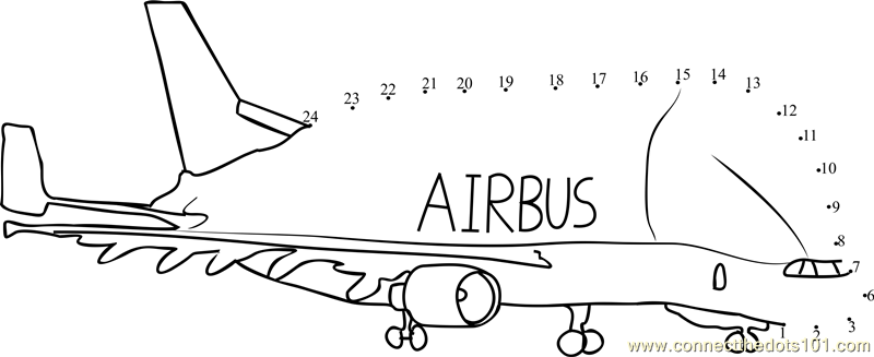 Air Bus Airplanes Dot To Dot Printable Worksheet Connect