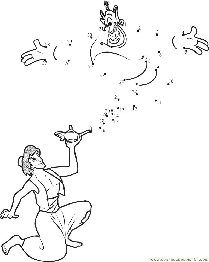 Aladdin Genie Fun Dot To Dot Printable Worksheet Connect The Dots