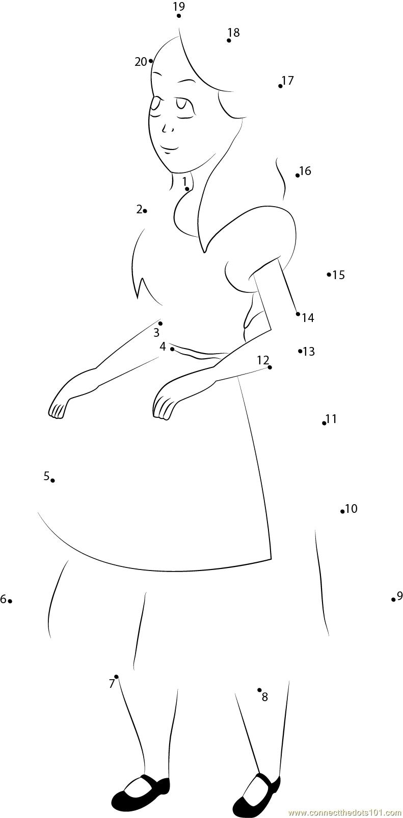 Alice In Wonderland Dot To Dot Printable Worksheet