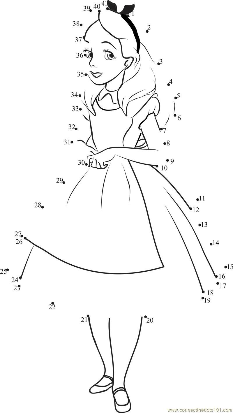 Alice in wonderland dot to dot printable worksheet - Connect
