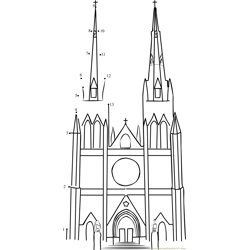 St Marys Cathedral Dot to Dot Worksheet
