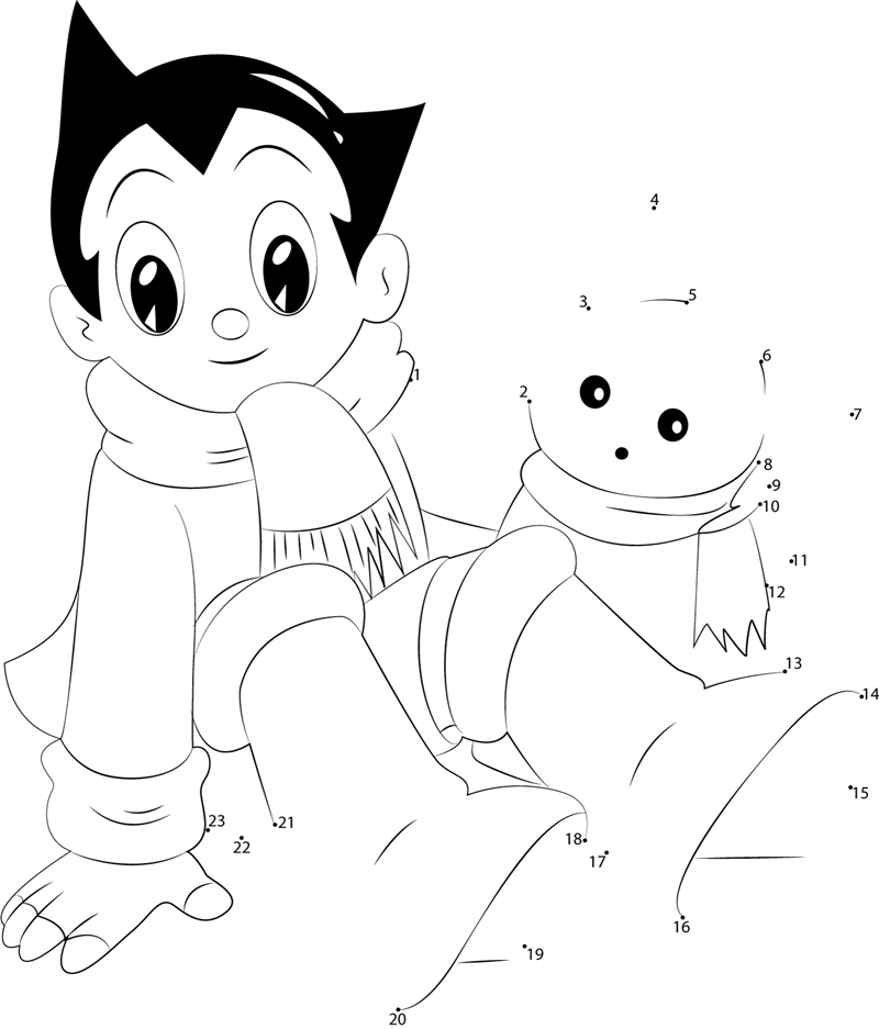 Astro Boy With Snow Cat dot to