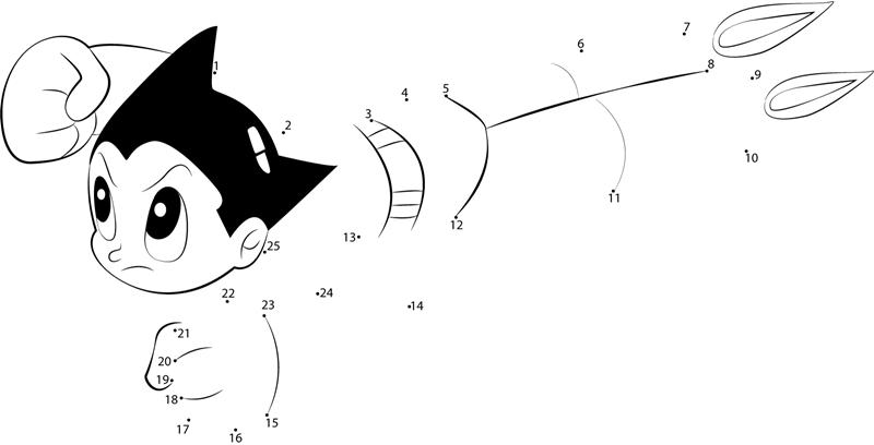 Fast Astro Boy Dot To Dot Printable Worksheet