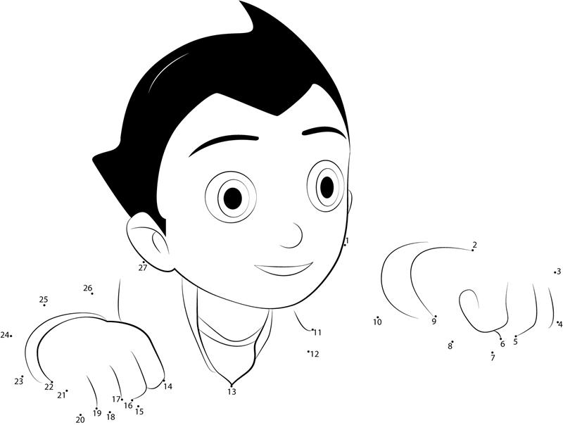 Hero Astro Boy Dot To Dot Printable Worksheet