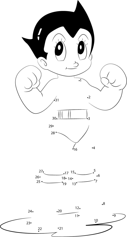 Strong Astro Boy dot to dot printable