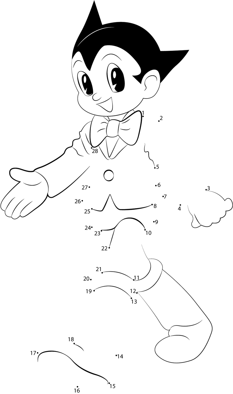 Walk Astro Boy Dot To Dot Printable Worksheet Connect The Dots