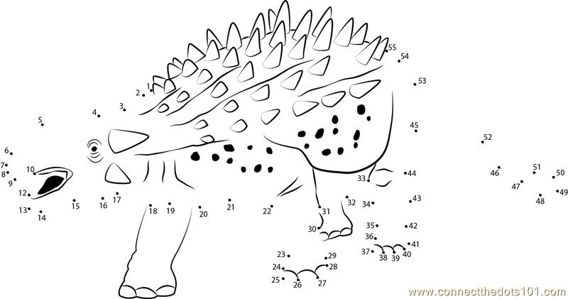 Ankylozaur Ankylosaurus Dot To Dot Printable Worksheet
