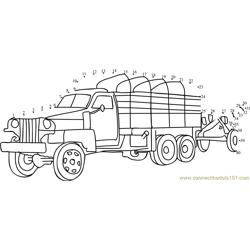 Army Truck Dot to Dot Worksheet