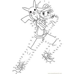 Ash And Pokemon Dot to Dot Worksheet