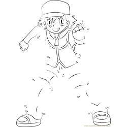 Ash Ketchum Pokemon Character Dot to Dot Worksheet