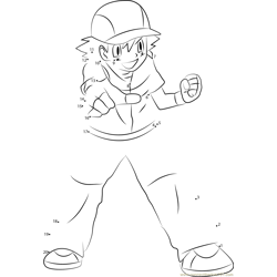 Ash Ketchum by Brigz Dot to Dot Worksheet