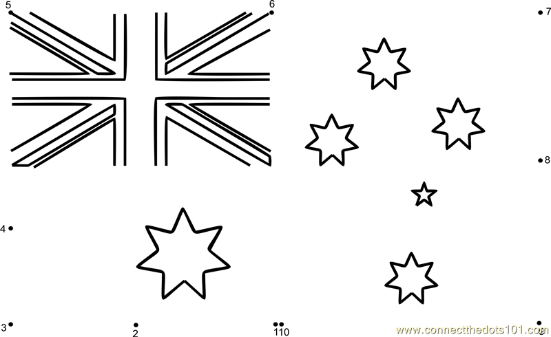 flag Connect The Dots printable worksheets