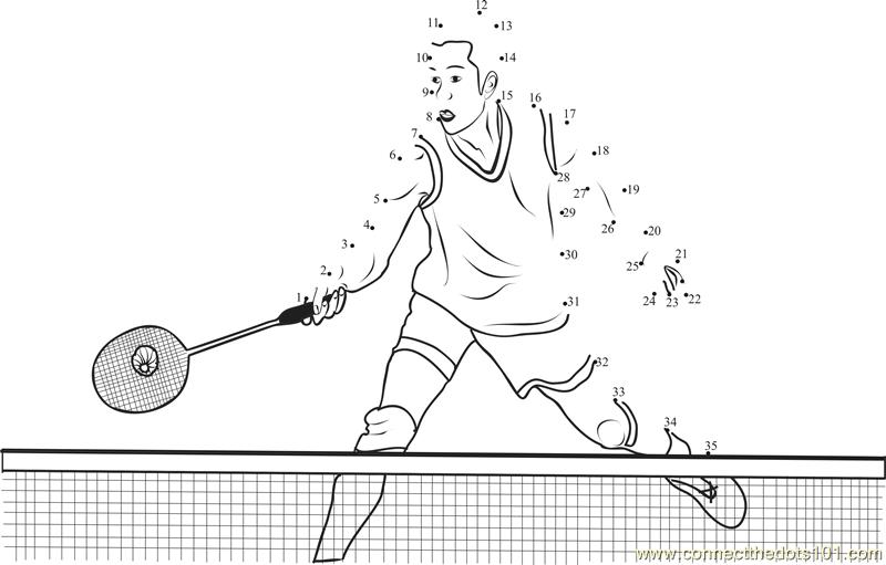 Badminton Net Shuttle Scoop Dot To Dot Printable Worksheet