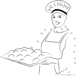 female baker holding  dough tray