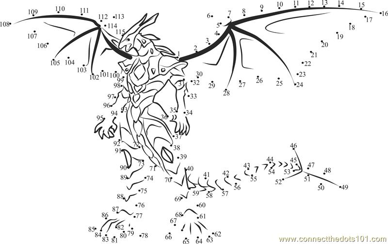 bakugan drago dot to dot printable worksheet