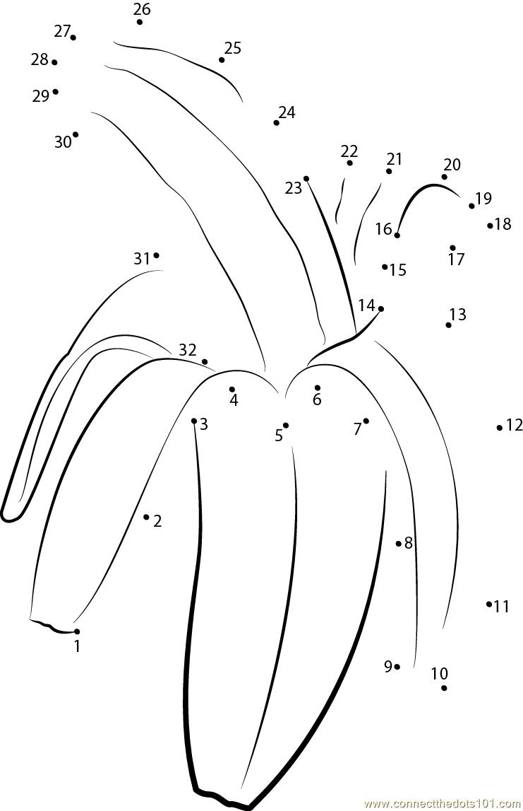 Banana Peel dot to dot printable