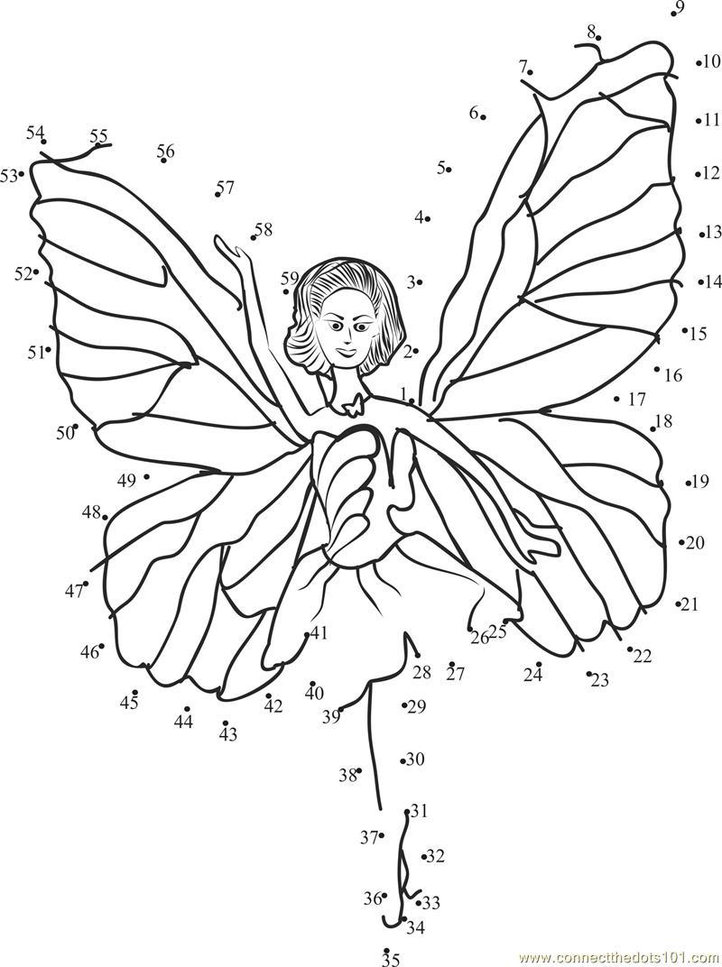 Barbie Angel dot to dot printable