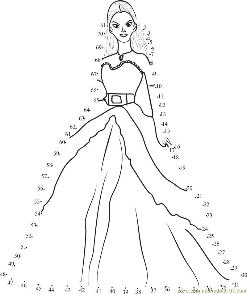Beautiful Barbie dot to dot printable worksheet - Connect ...