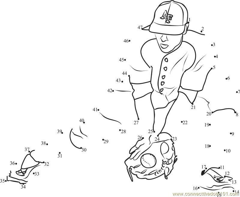 Baseball Catch dot to dot printable worksheet Connect The Dots – Baseball Worksheets
