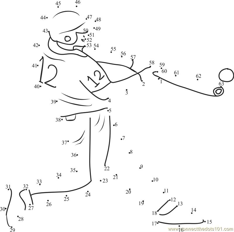 Baseball Shot Homerun dot to dot printable worksheet Connect The – Baseball Worksheets