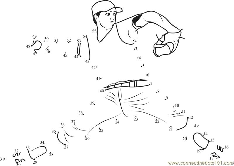 BASEBALL Connect The Dots printable worksheets – Baseball Worksheets