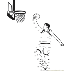 Basketball Bounce Dot to Dot Worksheet
