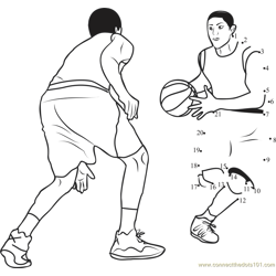Basketball Dodging Dot to Dot Worksheet