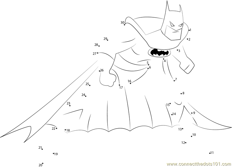 Batman Look dot to dot printable worksheet - Connect The Dots