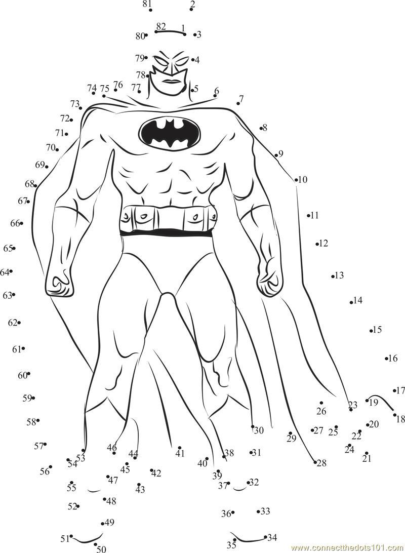 Batman dot to dot printable worksheet - Connect The Dots