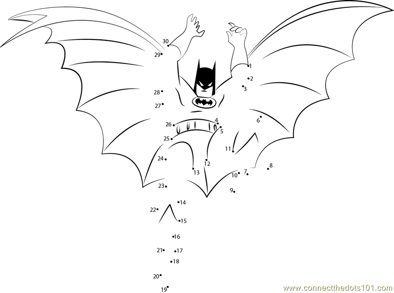 Batman Connect the Dots Worksheets Printable for Kids