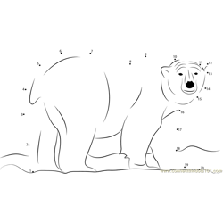 Male Polar Bear Dot to Dot Worksheet