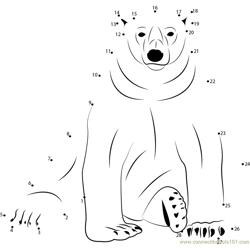 Sitting Polar Bear Dot to Dot Worksheet