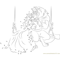 Beauty and the Beast Sitting on Wooden Swing Dot to Dot Worksheet
