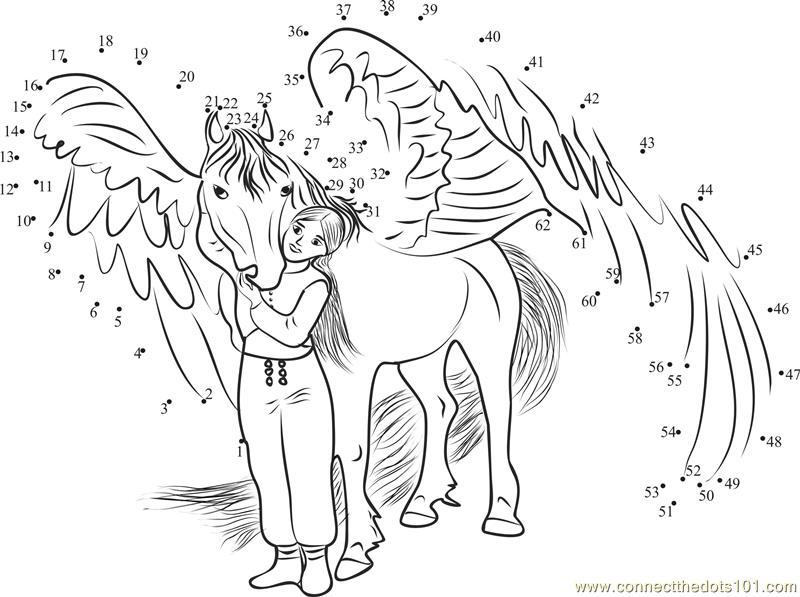 348 Bella Sara Magical Horse Dot To Dot on Superheroes Worksheets For Kids