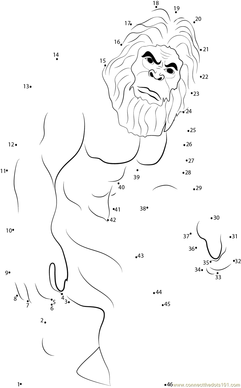 Sasquatch dot to dot printable worksheet connect the dots for Printable bigfoot coloring pages