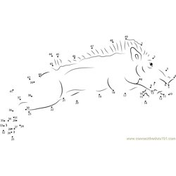 Indian Wild Boar Running Dot to Dot Worksheet