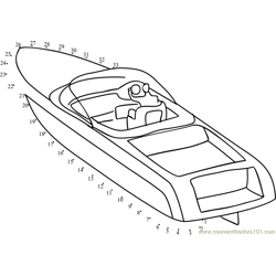 Speed Boat Dot to Dot Worksheet