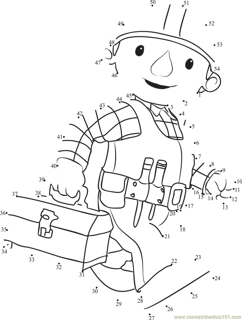 Hard Working Bob The Builder dot to dot printable