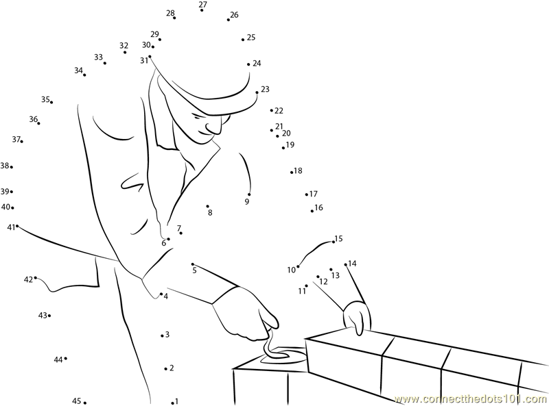 Construction Worker Bricklayer Dot To Dot Printable