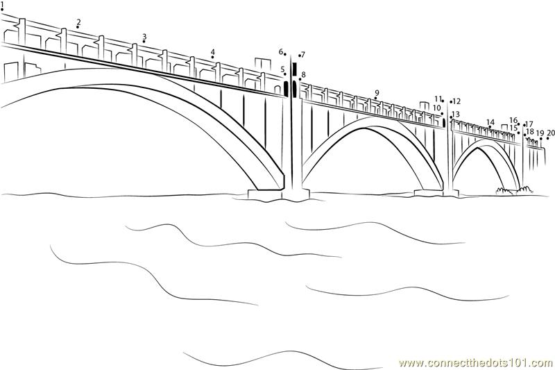 Bridges in Zaporizhia dot to dot printable worksheet