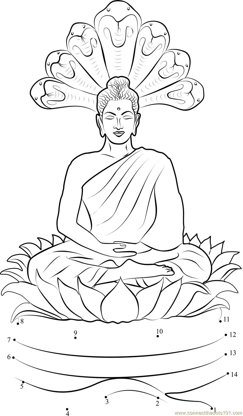 Gautam Buddha Sitting On Lotus Dot To Dot Printable Worksheet