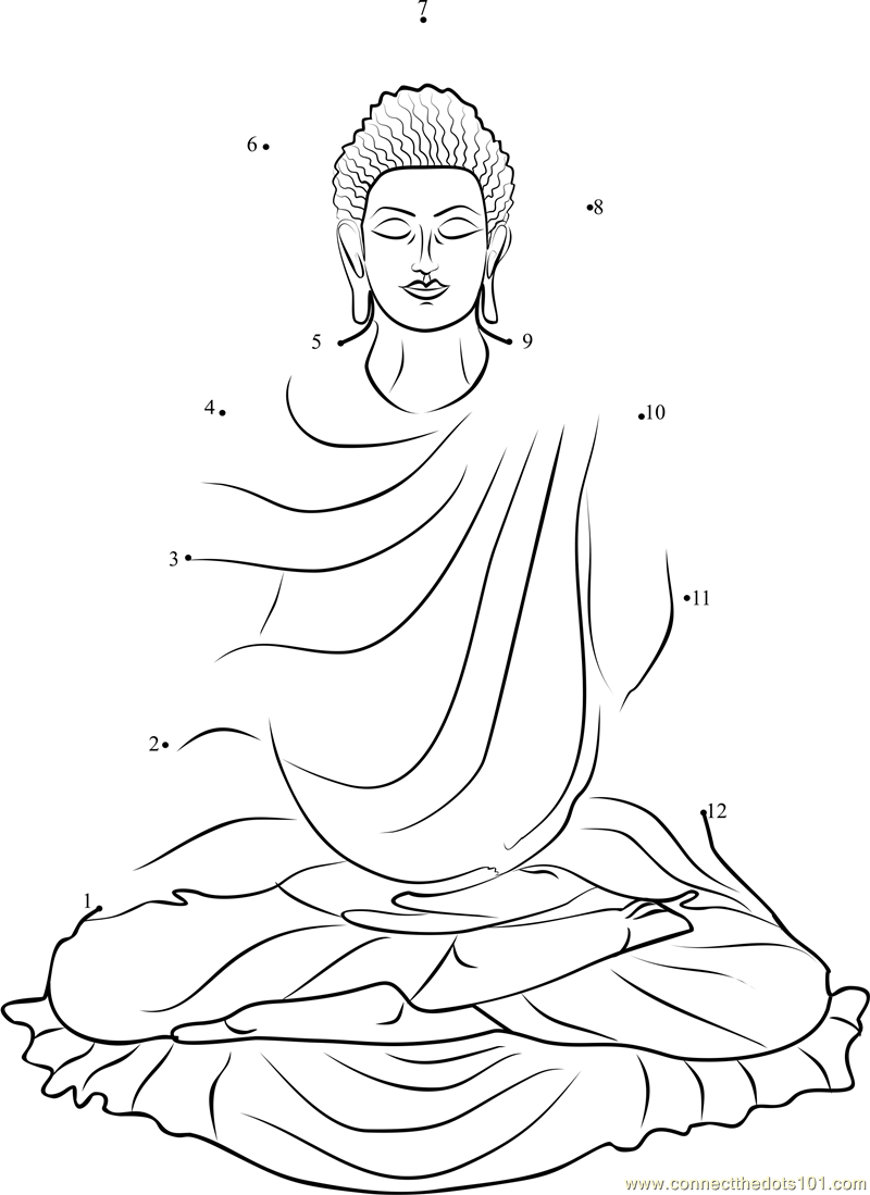 gautama buddha dot to dot printable worksheet connectthedots101 com