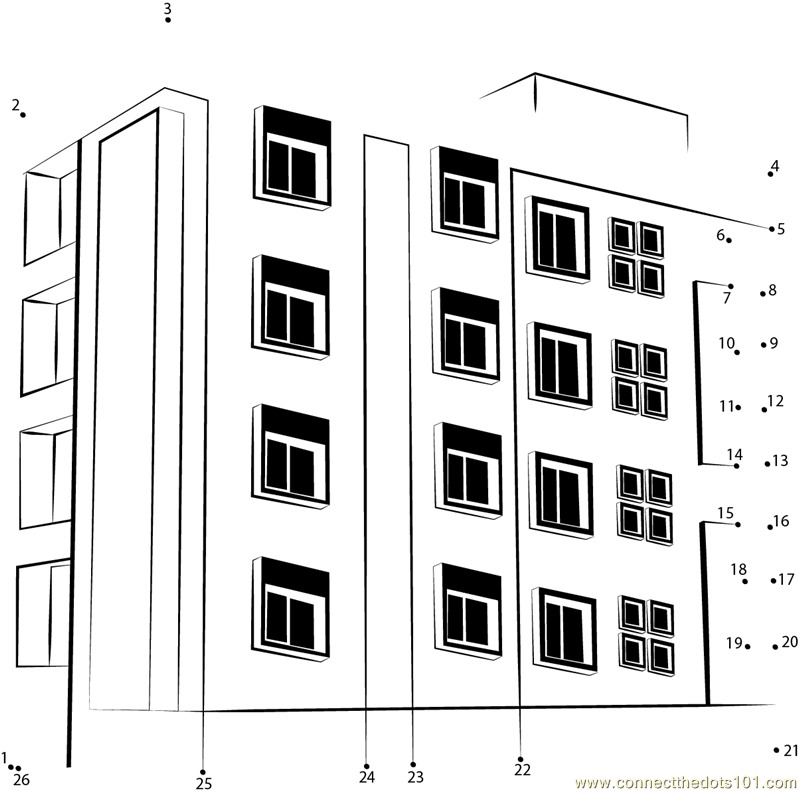 Apartment Building Dot To Dot Printable Worksheet Connect The Dots