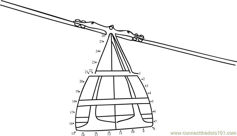 cable car on ropeway dot to dot printable worksheet