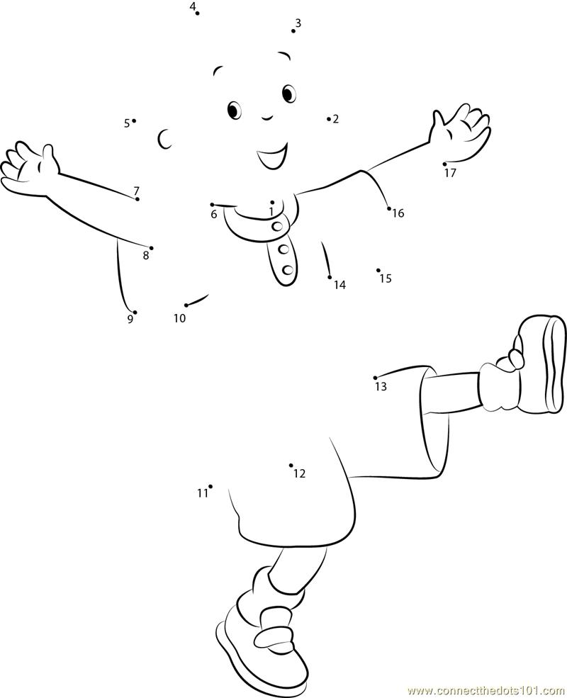 Fun Dot To Dot Worksheets : Caillou having fun dot to printable worksheet
