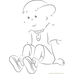 Caillou Sitting Alone Dot to Dot Worksheet