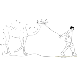Man Leading Camel Dot to Dot Worksheet