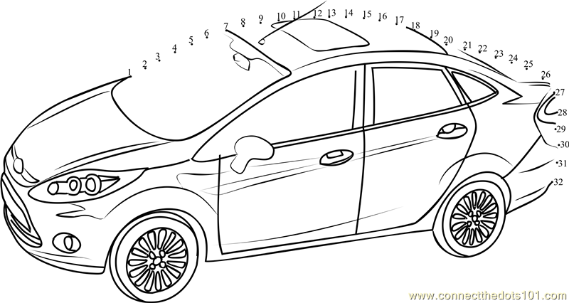 ford fiesta car dot to dot printable worksheet connect the dots