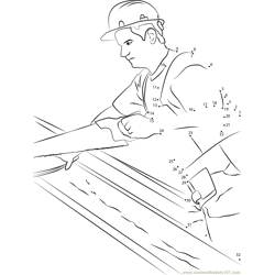 Carpenter Working on Wood Dot to Dot Worksheet