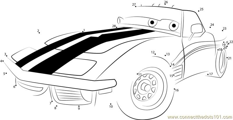 Cars Disney Dot To Dot Printable Worksheet